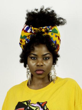 SHEBA HEADWRAP WOMEN'S AFRICAN PRINT (YELLOW BLUE RED ANKARA DASHIKI)