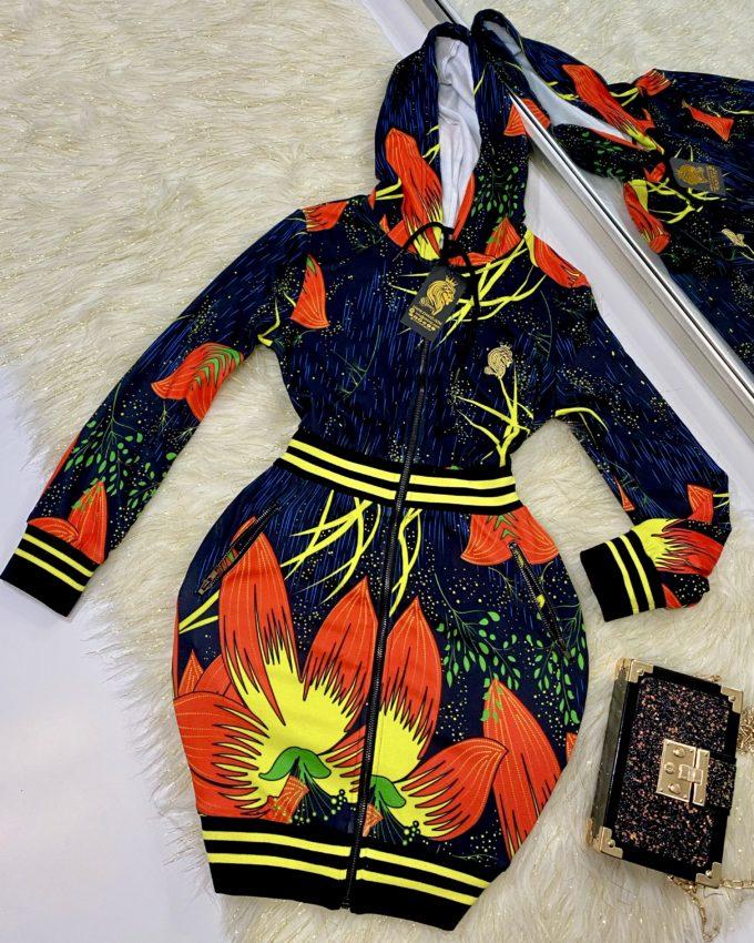 MONIFA HOODED SWEATSHIRT DRESS (ORANGE)