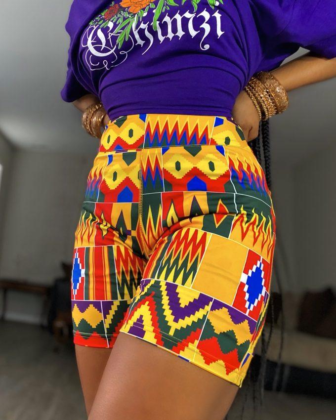 SHEBA SHORTS (STRETCHY AFRICAN PRINT)