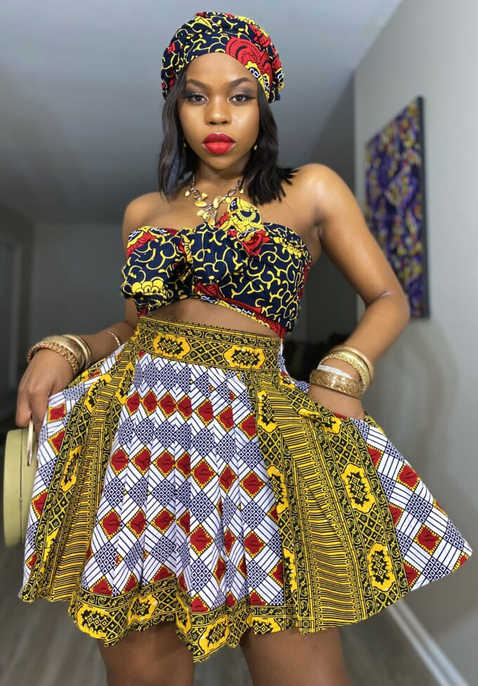 ENIOLA MINI SKIRT in African Ankara/ Dashiki Print/pattern