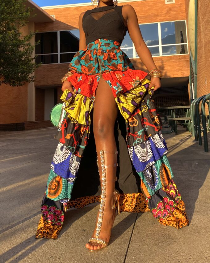 SHAKARA PATCH SKIRT (MULTICOLORED ANKARA DASHIKI KENTE PRINT)