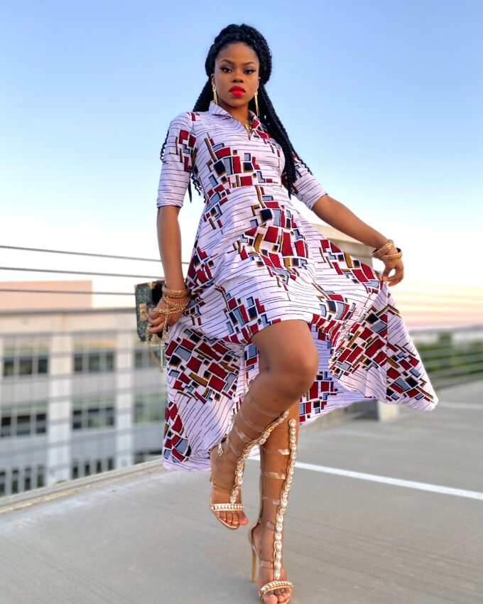 THELMA Women's African Print High-Low Dress in White and red Ankara Dashiki