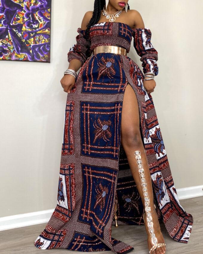 RASHI Rema Kente African Ankara Off-Shoulder Summer Long Dress