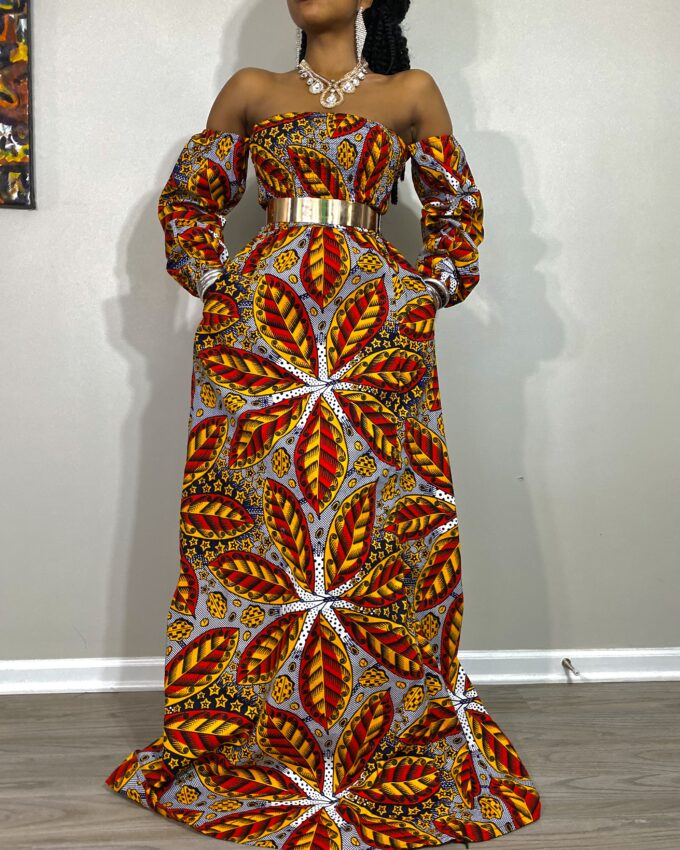 Rema Kente African Ankara Off-Shoulder Summer Long Dress