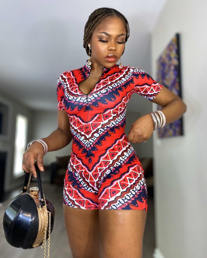 THABISA ROMPER (STRETCHY AFRICAN PRINT FABRIC)-RED