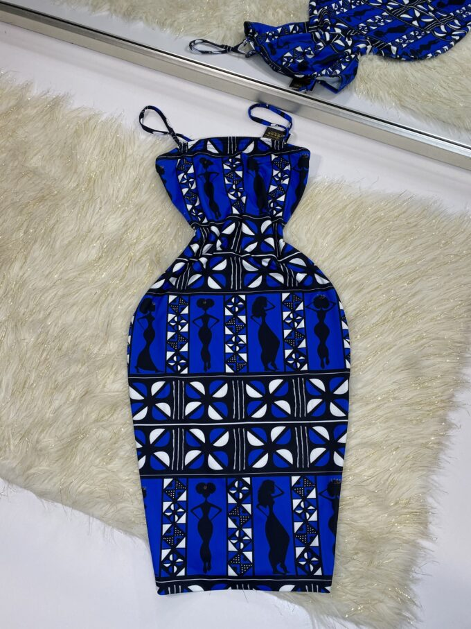 DENZEL TUBE DRESS WITH DETACHABLE STRAPS (BLUE AND WHITE STRETCHY AFRICAN PRINT)