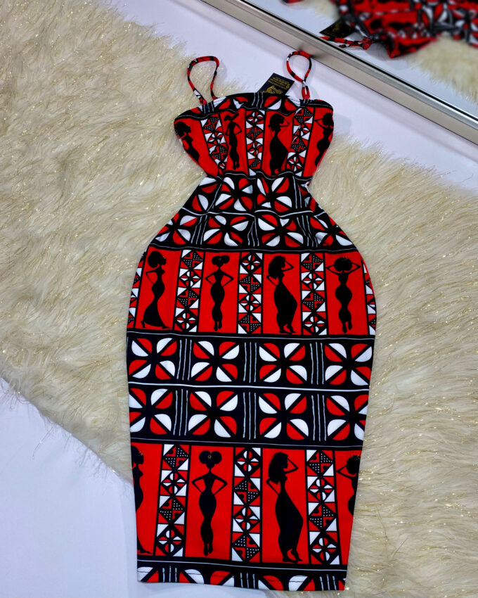 DENZEL TUBE DRESS WITH DETACHABLE STRAPS (RED AND WHITE STRETCHY AFRICAN PRINT)
