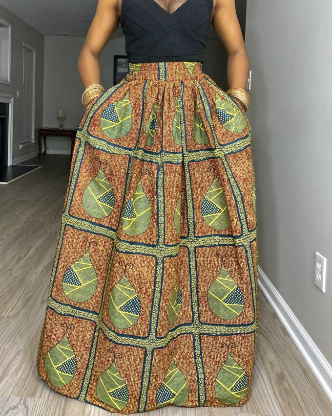 NANDI MAXI SKIRT IN MULTICOLORED AFRICAN ANKARA DASHIKI KENTE PRINTNANDI MAXI SKIRT IN MULTICOLORED AFRICAN ANKARA DASHIKI KENTE PRINT