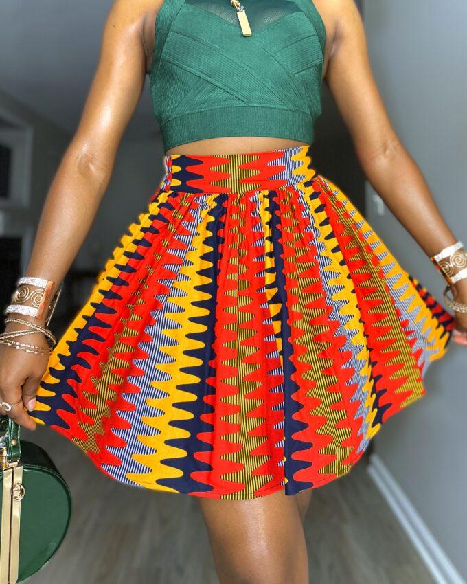 Shop SIMONE ankara kente dashiki African women ladies wears clothes fashion mini skirt with pocket