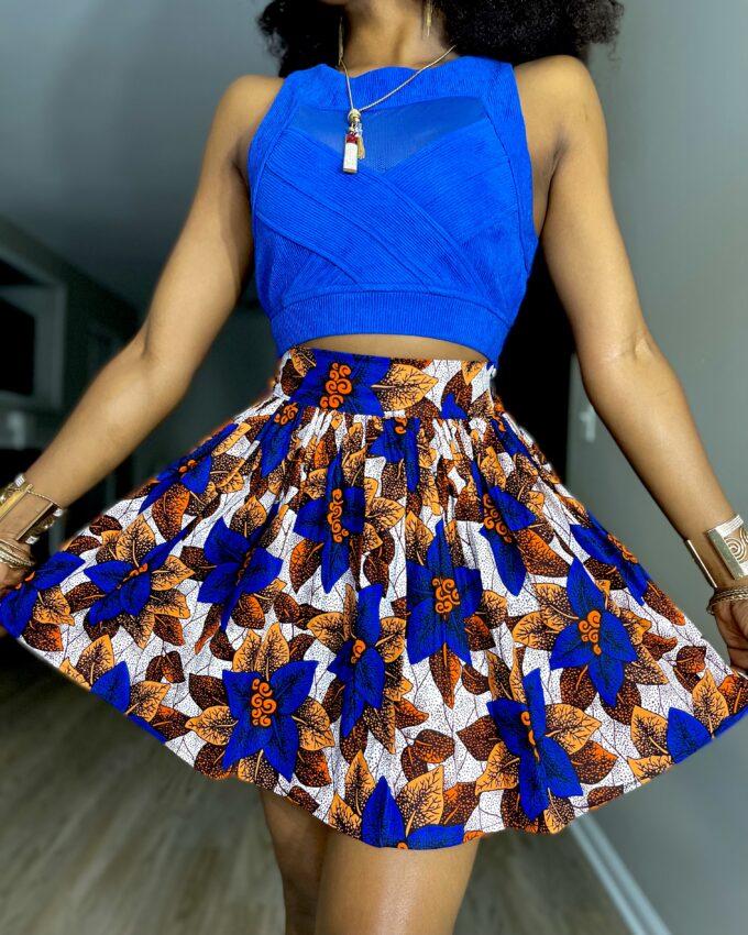 Shop SHERYL ankara kente dashiki African women ladies wears clothes fashion mini skirt with pocket