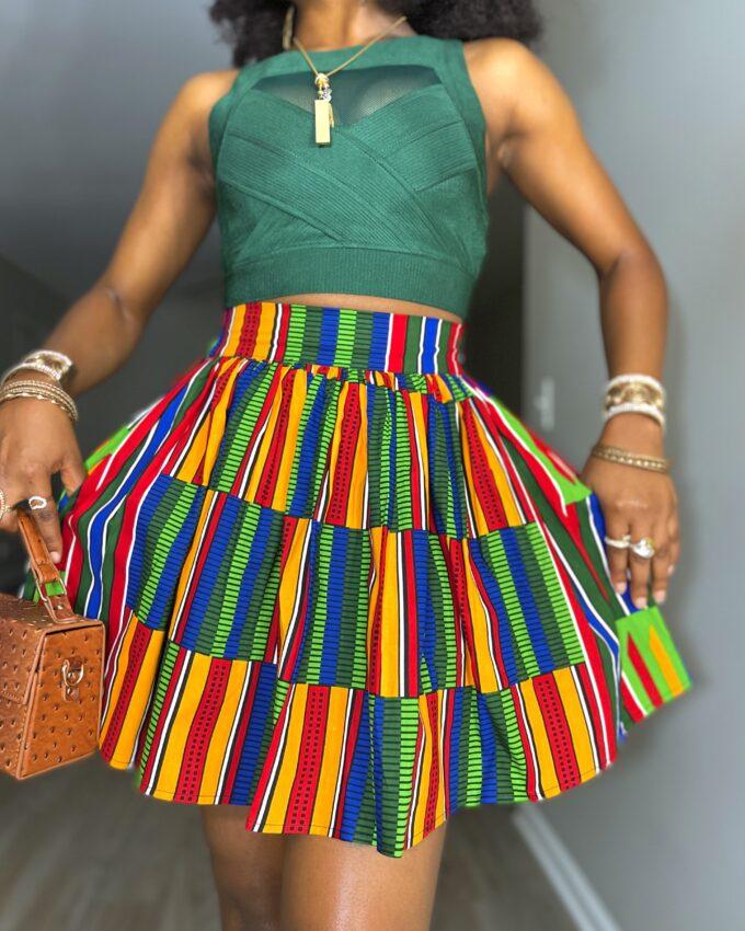 Shop HADASAH ankara kente dashiki African women ladies wears clothes fashion mini skirt with pocket