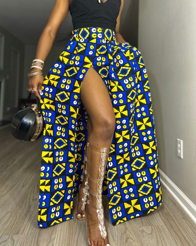Shop gbenga ankara kente dashiki African women ladies wears clothes fashion maxi long skirt with pocket and slit