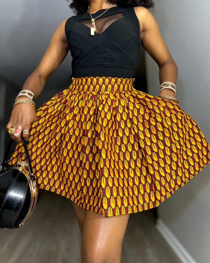 Shop HERAH ankara kente dashiki African women ladies wears clothes fashion mini skirt with pocket