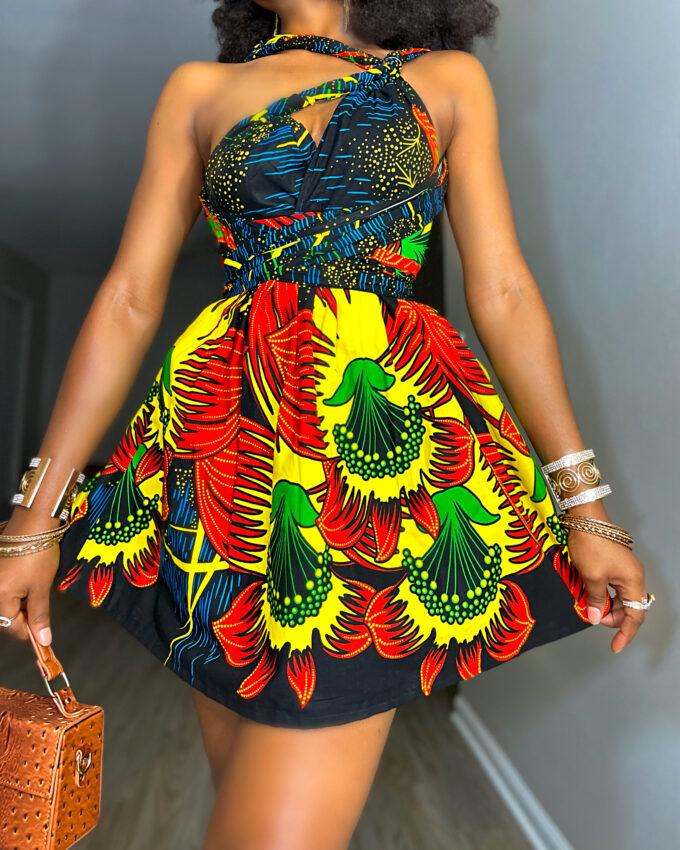 MONIFA Women's African Print Infinity short mini Dress in ankara dashiki kente multicolored pattern