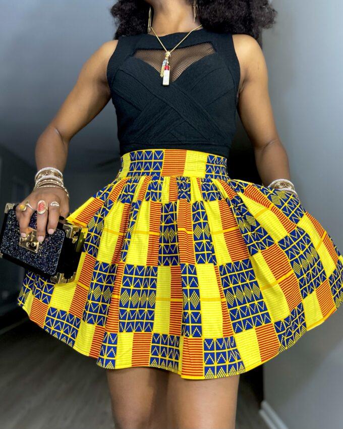 Shop IMADE ankara kente dashiki African women ladies wears clothes fashion mini skirt with pocket
