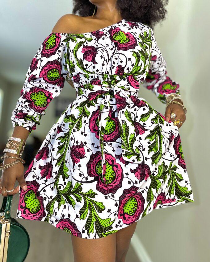 IZOGIE Simi One Off Shoulder Short/Mini Dress in Ankara Dashiki Kente African Print