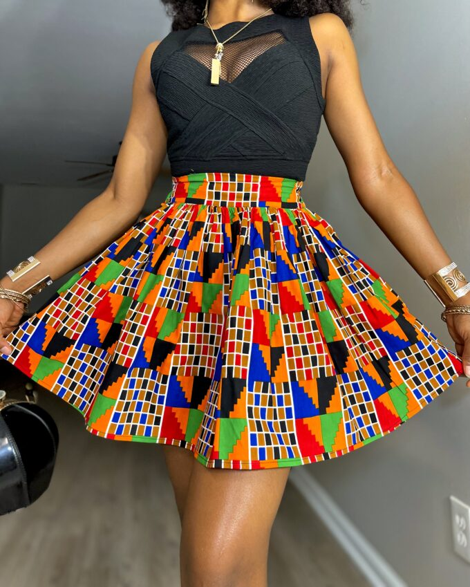 Shop BELLA ankara kente dashiki African women ladies wears clothes fashion mini skirt with pocket