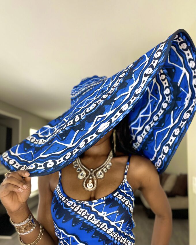 Thabisa Blue And white African Ankara Oversized sun beach vacation Hat