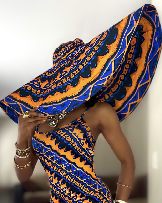 Thabisa Blue And Gold African Ankara Oversized sun beach vacation Hat