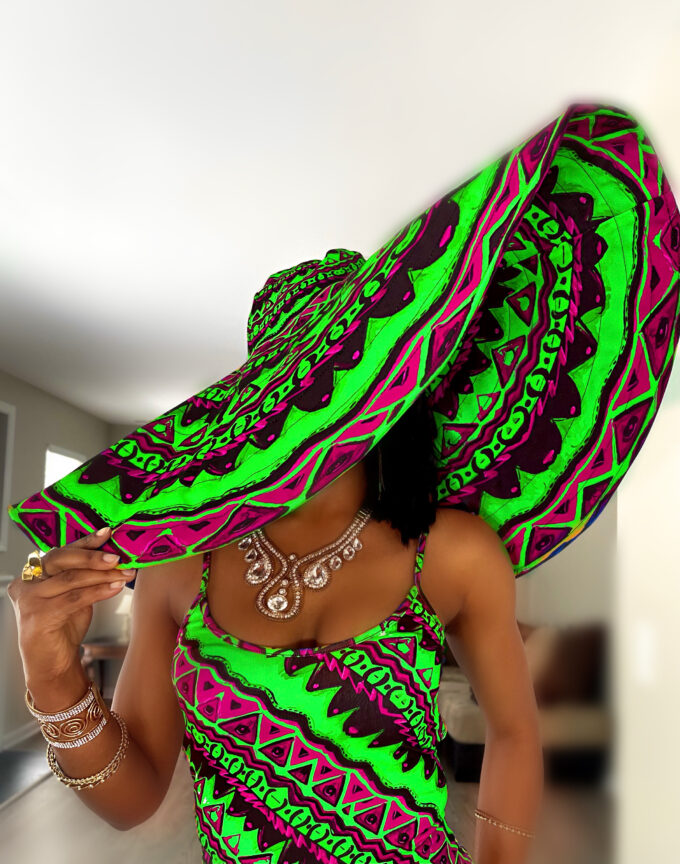 Thabisa pink and green African Ankara Oversized sun beach vacation Hat