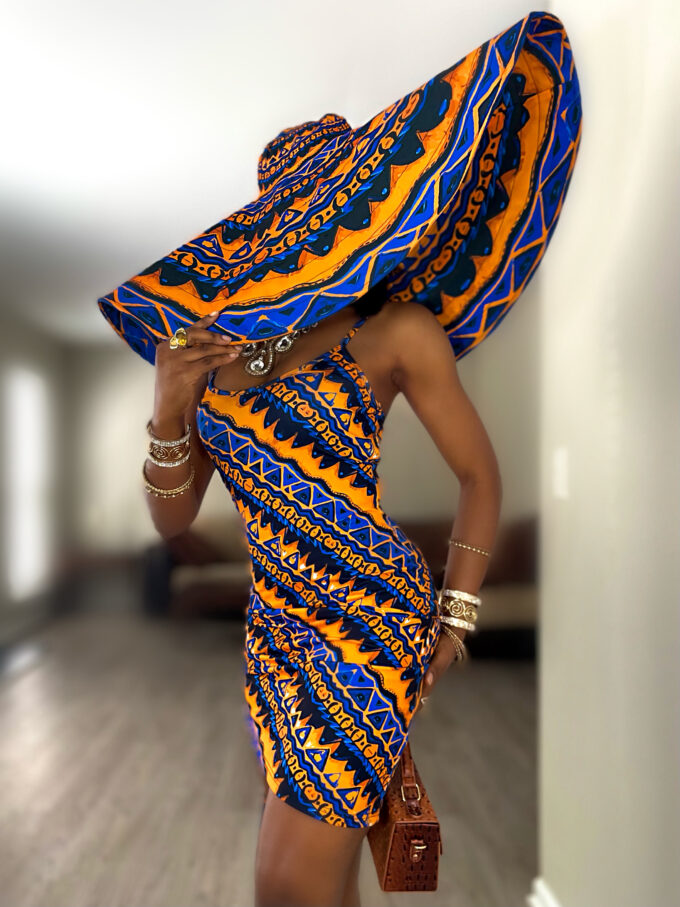 Thabisa Blue and gold Stretchy African Print dress