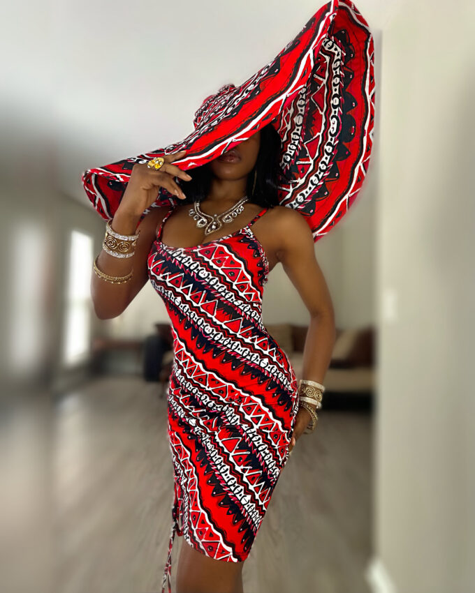 THABISA DRESS (RED AND WHITE STRETCHY AFRICAN / ANKARA PRINT)
