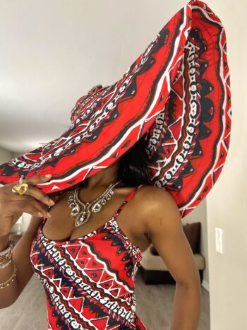 Thabisa red and white African Ankara Oversized sun beach vacation Hat
