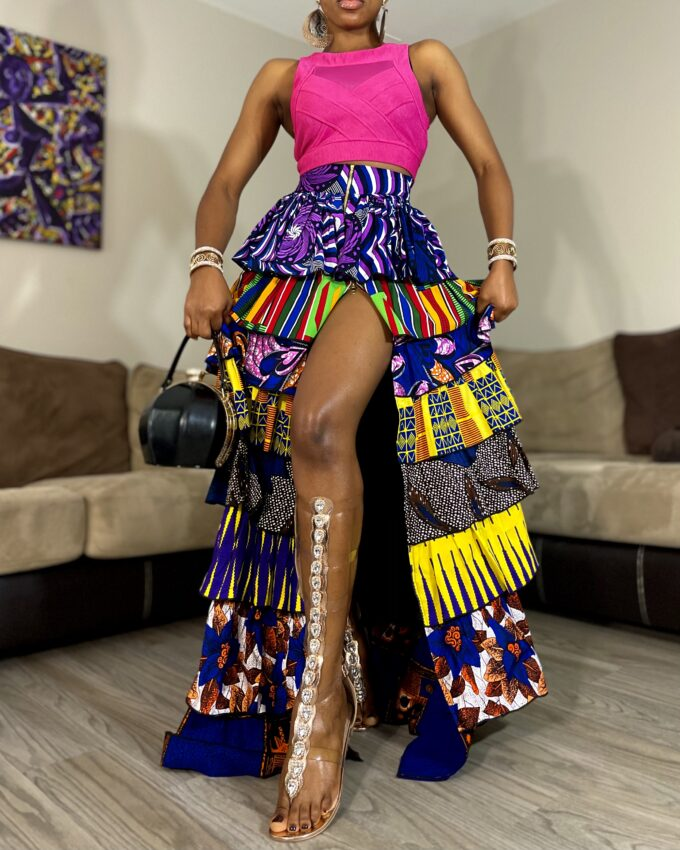 SHAKARA SLITTED MAXI SKIRT IN AFRICAN ANKARA DASHIKI KENTE MULTICOLORED PATCH FABRIC